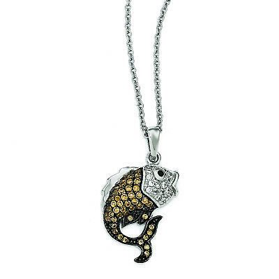 Cheryl M Sterling Silver Black Rhodium-plated CZ Fish 18in Necklace