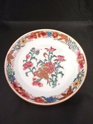 Chinese Antique Famille Rose Porcelain Small Plate With Flowers