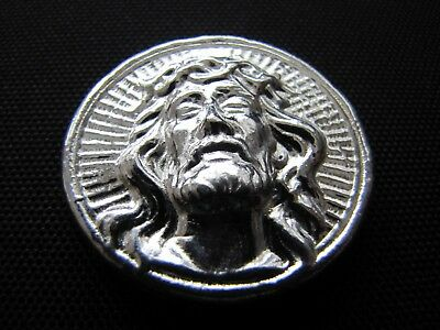 HACMint 2 oz 999+ Fine Silver JESUS CROSS Hand Poured ART BAR ROUND