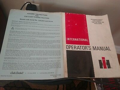 Vintage IH -International Cub Cadet Manual for # 1282,682, & 782 Tractors