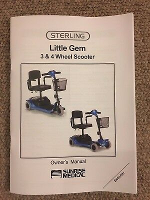 Sterling Little Gem Mobility Scooter Owner's Manual Instructions Guide