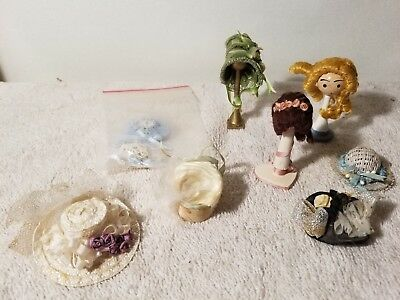 set of 9 dollhouse miniature hats wigs and stands