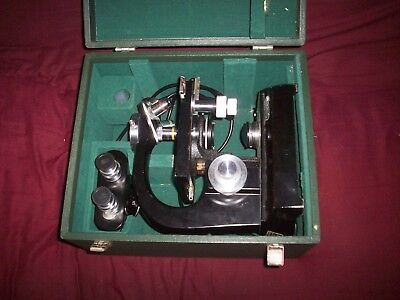Vintage Steindorff & Co, Berlin Microscope Original Wood Box & 4 Extra Eyepieces