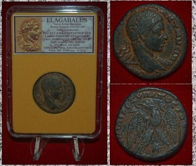 Ancient Roman Empire Coin ELAGABALUS Eagle On Reverse Tetradrachm Antiochia
