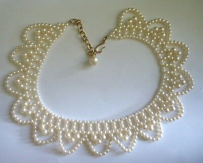 vintage faux pearl scalloped collar necklace choker