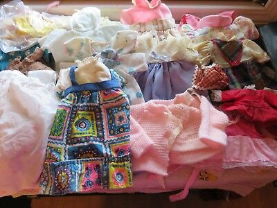 Large Lot of 20+ Vintage DOLL CLOTHES Fits Small to Medium Dolls 1950 to 70's GC