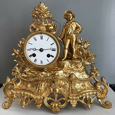 Working Antique French Ormolu Mantel Clock Japy Freres, 8 Days movements