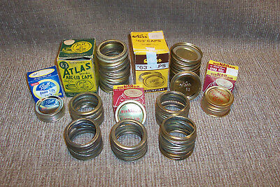 """Size """"63"""" Canning Lids Rings Boxes Atlas Kerr Ball Old Country Kitchen Can Tools"""