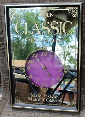 Vintage Golden Classic Premium Beer Mirror Glass 19 x 13 Clock Bar Sign 1984