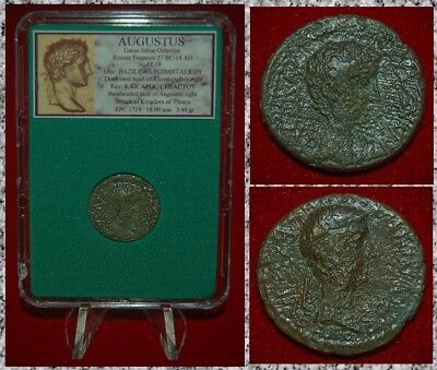 Ancient Roman Empire Coin AUGUSTUS  Bust of Augustus and Rhoemetalkes Thrace