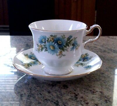 Vintage Queen Anne Blue Daisies Design Porcelain Footed Cup & Saucer