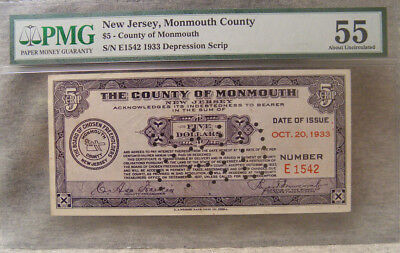 $5 depression script ~ 1933 ~ monmouth county nj ~ PMG 55 about uncirculated