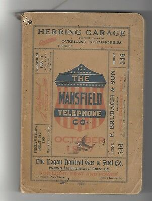 Mansfield Telephone Ohio 1917 directory > 101 yrs old >> genealogical