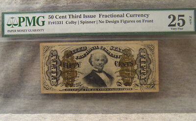 50 cent third issue fractional currency ~ PMG 25 net ~ fr# 1331