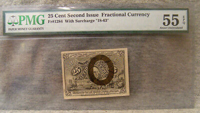 25 cent second issue fractional currency ~ PMG 55 about uncirculated ~ fr# 1284