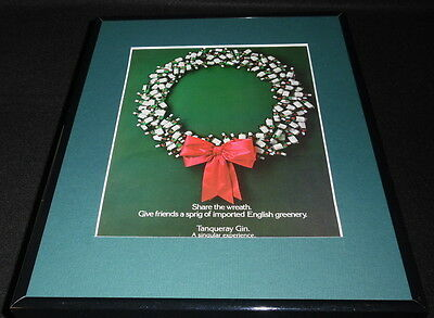 1985 Tanqueray Gin Christmas Framed 11x14 ORIGINAL Vintage Advertisement