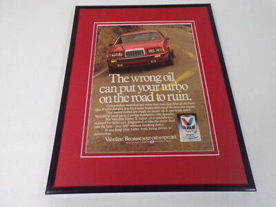 1986 Valvoine Turbo V Oil Framed 11x14 ORIGINAL Vintage Advertisement