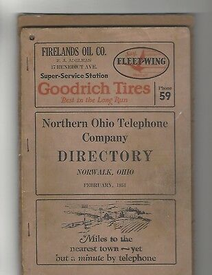 1934 NORWALK >> Northern Ohio Telephone Co directory  78 pages >  genealogical