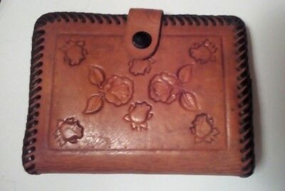 Vintage Western Handmade Wrapped 2 Color Leather Folding Wallet Tooled ROSES