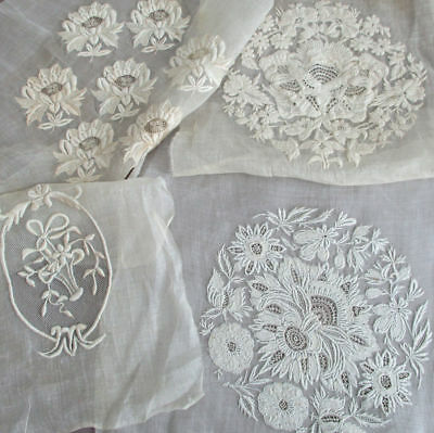 4 Antique SWISS Hand Embroidered FONDS du BONNET French Bed Cap COIFFE Ayrshire