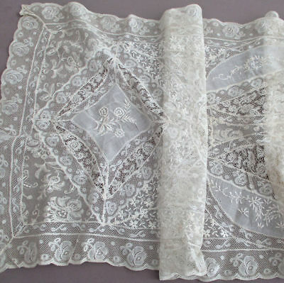 """Vintage French NORMANDY LACE Runner 54"""" X 16"""" Embroidered FLOWERS on Sheer Linen"""