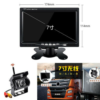 "Truck 7"" TFT LCD Color HD Monitor + Wireless Night Vision Backup Rearview Camera"