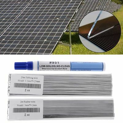 Solar Panel PV Welding 20M Tabbing Tab Wire +2M Bus Wire Ribbon +Flux Pen Kits