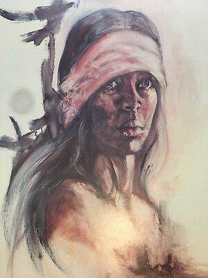 """Vintage Popo & Ruby Lee Print 1974 """"Proud American"""" Lithograph Native American"""