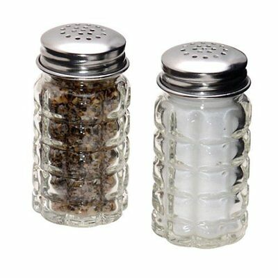 Stainless Steel Lids Salt and Pepper Shaker w/ Vintage Style Clear Glass Kitchen