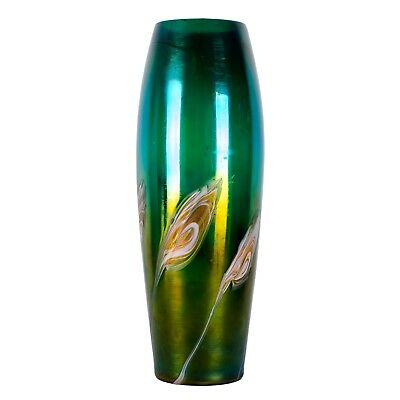 Antique Iridescent Pulled Feather Art Glass Vase