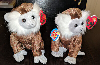 "Set of two Ty Beanie Babies 2.0 Jungle The Monkey 7"" 2008 - Very Nice Plush Toy"