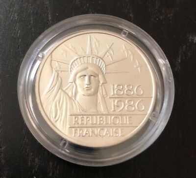 1986 France 100 Francs Statue Of Liberty Coin - DOUBLE SILVER PIEDFORT (THICK)