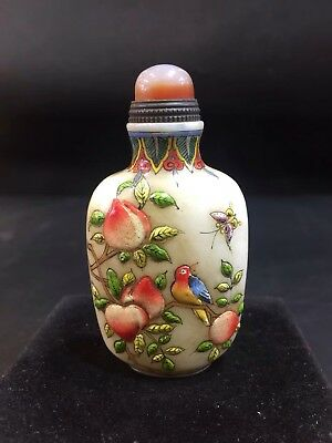 Chinese Antique coloured glaze Hand carved peach bird snuff bottle  s