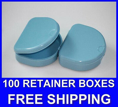 100 Light Blue Denture Retainer Box Orthodontic Dental Case Mouth Ortho Brace.