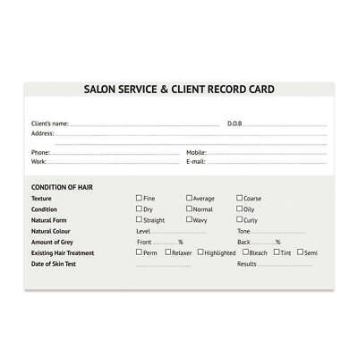 Salon Client Cards Hair