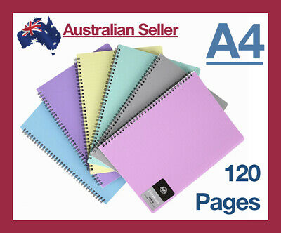A4 Notebook 8mm Ruled Exercise Book 120 Pages School Lined Spiral Colourhide NEW