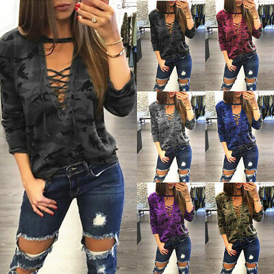 UK Womens Autumn Sexy V Neck Lace Up Shirt Camouflage Blouse Tops Ladies T Shirt