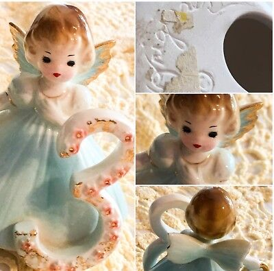 "Vintage Josef Originals 3"" Girl Angel Figurine 3rd Birthday Blue   SKU 049-45"