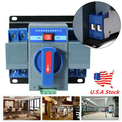 US 63A 2P 50HZ/60HZ Dual Power Automatic Transfer Switch +Manual 150×137×118mm
