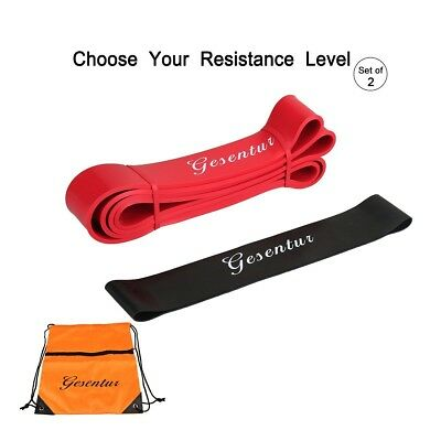 (#1 Red 25-65LBS + 20-35LBS Black) - Set of 2-4 Resistance Bands, 4 Levels