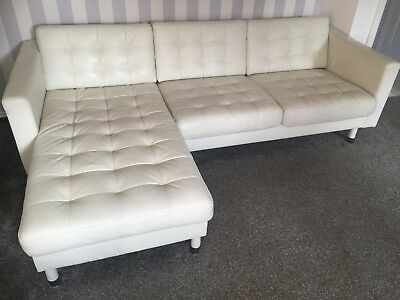 Excellent Landskrona Ikea 3 Seater Corner Sofa Settee White Leather Gmtry Best Dining Table And Chair Ideas Images Gmtryco
