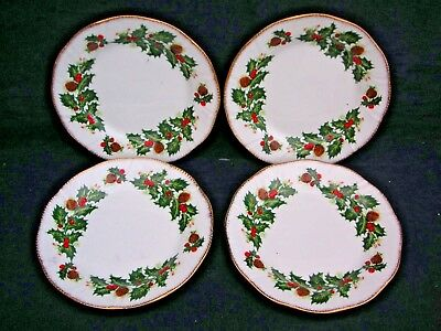 Vintage Queens English Fine China. Yuletide Pattern. 4 x Side Plates