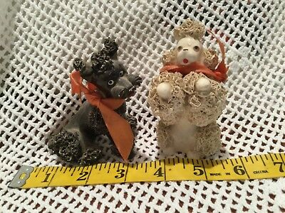 2  Vintage Porcelain Spaghetti Trim Poodle Dog Japan