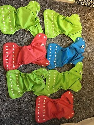 7 X Little Lamb Pocket Nappy Outer Only Popper Size 1 USED Cloth Nappy Reusable