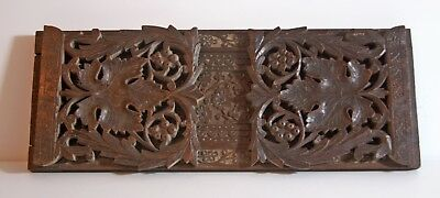 Vintage Black Forest extending book slide shelf bookends carved leaves & flowers