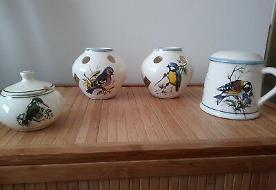 Collection of Brixham pottery, Devon. Bird images.
