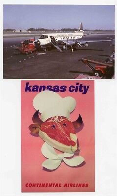Continental Airlines Viscount 812 & Kansas City Poster Postcards