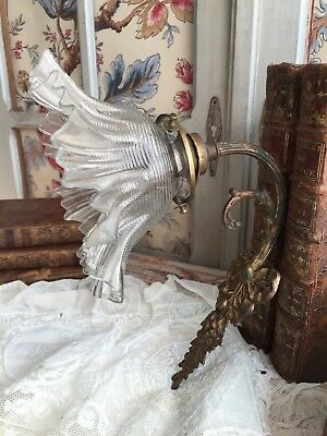 Lovely Antique French Ormulu Solid Bronze Wall Light Sconces Flower Glass Shade