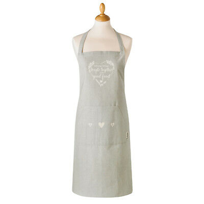 Cooksmart Food for Thought Cotton Apron with Pocket Hearts Modern Kitchen Baking