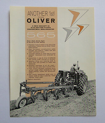 1963 Oliver 565 3 4 5 Bottom Semi-Mounted Plow Brochure